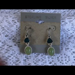Sterling Silver with Stones Dangle Earrings
